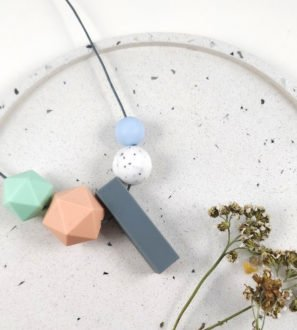 Baby Friendly Silicone Necklace - Peach, Mint Granite & Grey | New Mum Gift | Teething necklace by Kodes at Nurture Collective