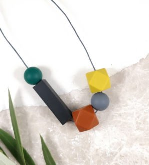 Baby Friendly Silicone Necklace - Mustard, rust & black | New Mum Gift | Teething necklace by Kodes at Nurture Collective