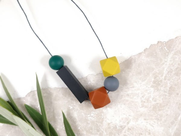 Baby Friendly Silicone Necklace - Mustard, rust & black   New Mum Gift   Teething necklace by Kodes at Nurture Collective