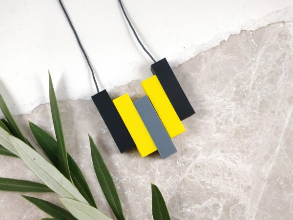 Baby Friendly Silicone Necklace - Black, Yellow & Grey| New Mum Gift | Teething necklace by Kodes at Nurture Collective