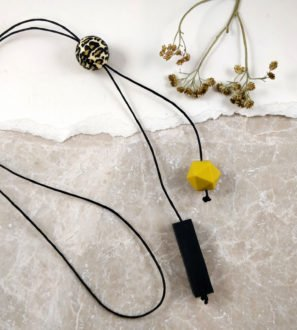 Baby Friendly Leopard Silicone Long Necklace - Black & Mustard | New Mum Gift | Baby Shower Gift at Nurture Collective