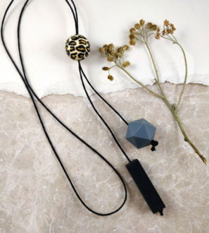 Baby Friendly Leopard Silicone Long Necklace - Black & Grey | New Mum Gift | Baby Shower Gift at Nurture Collective