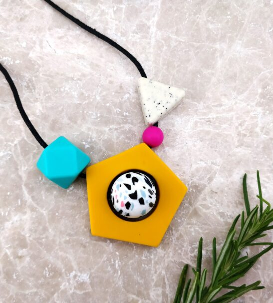 Baby Friendly Silicone Necklace - Memphis inspired Mustard | New Mum Gift by Kodes at Nurture Collective
