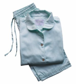Adult Aquamarine Pyjamas Set by Little Leaf Organics at Nurture Collective