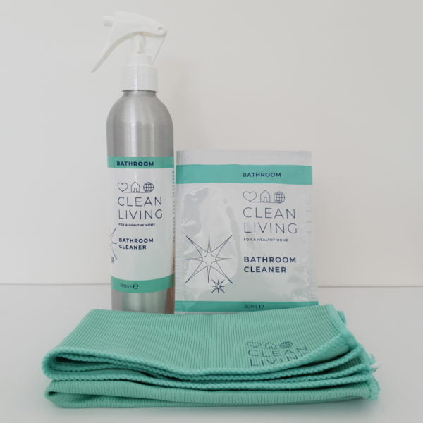 Bathroom Cleaner Starter Kit it contains 1x Spraybottle and 1x Refill Sachet by Clean Living at Nurture Collective