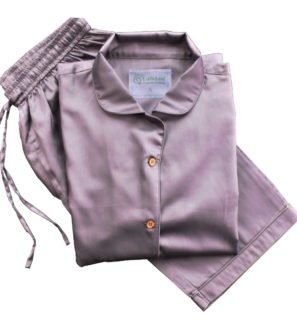 Chocolate Plum Adult Pyjama Set by Little Leaf Organics at Nurture Collective