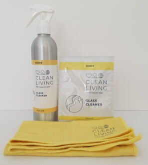 Glass Cleaner Starter Kit containing 1 x spray bottle of Glass Cleaner and 1 refill sachet and 1 yellow microfiber cloth by Cleaning Living at Nurture Collective