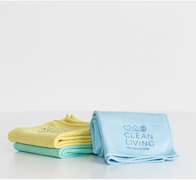 Set of three Glass Microfiber Cloths Clean Living in blue, yellow and green at Nurture Collective