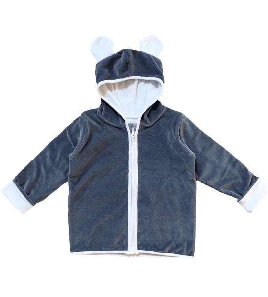 Organic Velour Grey Jacket by Little Earth Baby at Nurture Collective