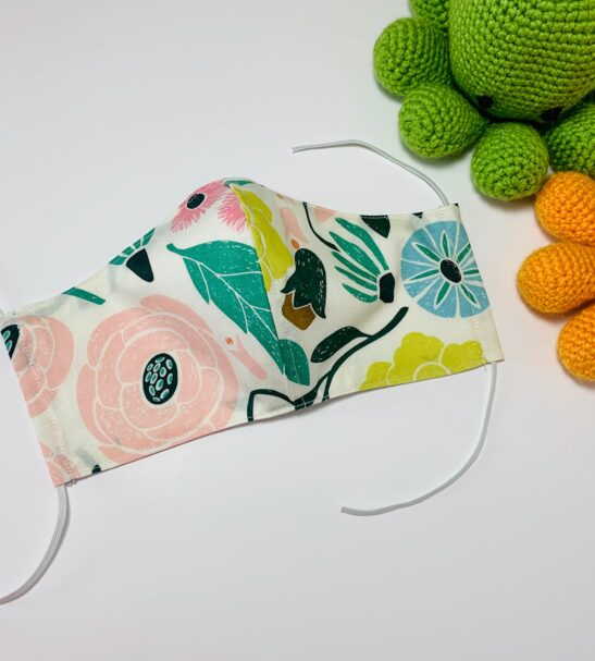 Reusable Organic Floral Face Covering with Filter Pocket by Squidge & Smudge at Nurture Collective