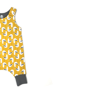 Organic Mustard Seagulls Harem Romper by Squidge & Smudge at Nurture Collective
