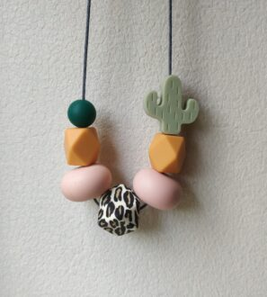 Baby Friendly Silicone Necklace - Leopard, Cactus Green | New Mum Gift | Geometric Necklace at Nurture Collective