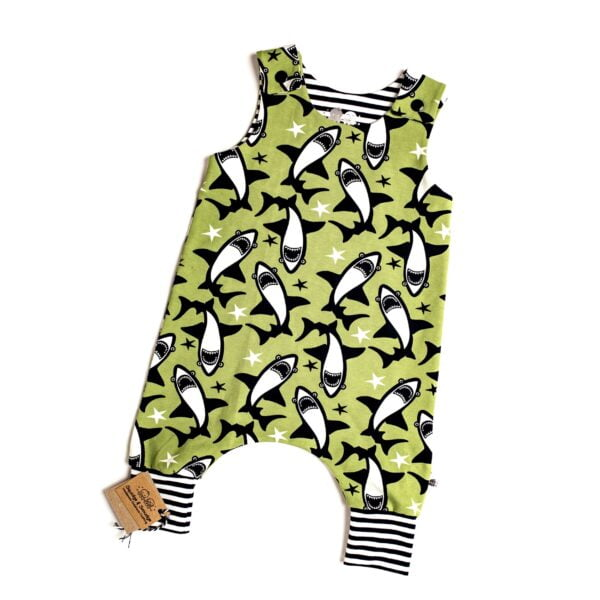 Organic Lime Sharks Harem Romper by Squidge & Smudge at Nurture Collective