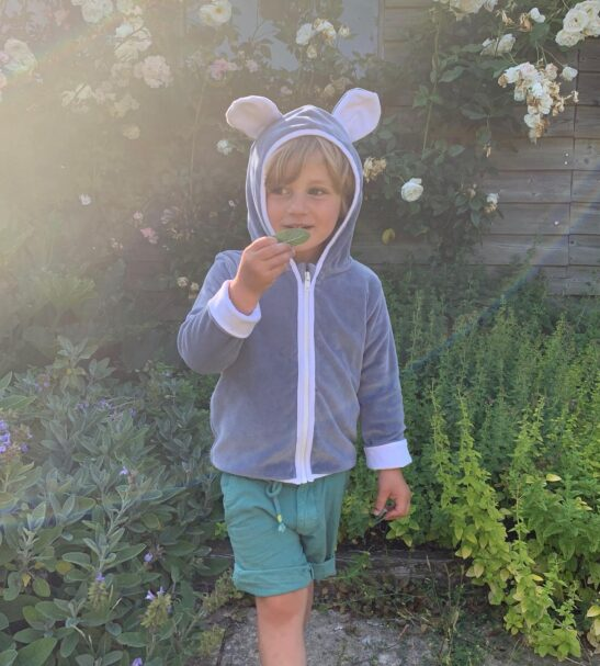 Boy in the garden wearing the Organic Velour Grey Jacket by Little Earth Baby at Nurture Collective