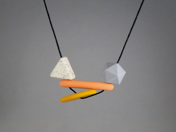 80s Asymmetrical Geometric Baby Friendly Silicone Necklace - Mustard by Kodes at Nurture Collective
