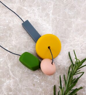 Baby Friendly Silicone Necklace - Mustard Olive green | New Mum Gift | Geometric Necklace by Kodes at Nurture Collective