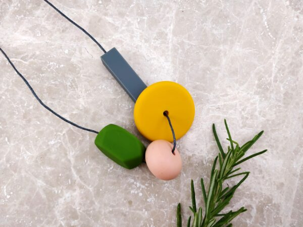 Baby Friendly Silicone Necklace - Mustard Olive green   New Mum Gift   Geometric Necklace by Kodes at Nurture Collective
