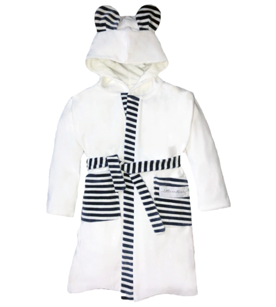 White Striped Velour dressing gown robe by Little Earth Baby at Nurture Collective