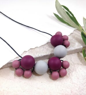 Baby Friendly Silicone Necklace - Burgundy Grey | New Mum Gift | Geometric Necklace by Kodes at Nurture Collective