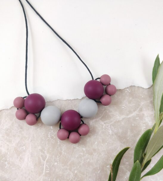 Baby Friendly Silicone Necklace - Burgundy Grey   New Mum Gift   Geometric Necklace by Kodes at Nurture Collective