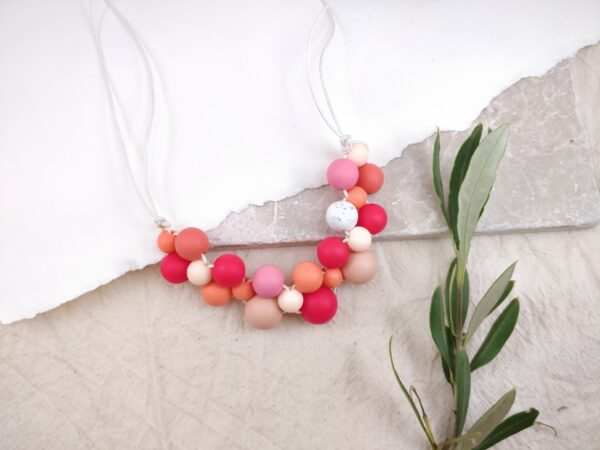 Baby Friendly Silicone Necklace - Coral Peach Pink | New Mum Gift | Geometric Necklace by Kodes at Nurture Collective