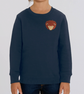 Navy Hedgehog Kids Sweatshirt by Tommy & Lottie at Nurture Collective