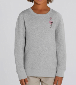 Grey Marl Flamingo Kids Sweatshirt by Tommy & Lottie at Nurture Collective