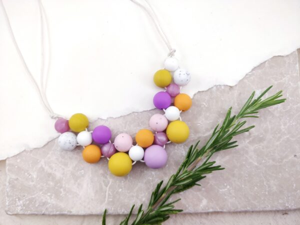 Baby Friendly Silicone Necklace - Mustard & Lilac | New Mum Gift | Geometric Necklace by Kodes at Nurture Collective