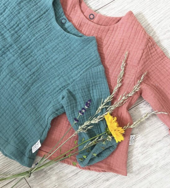 Breeze top in Teal and Rust by Little Drop at Nurture Collective