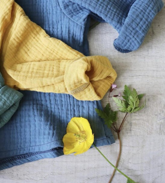Breeze top trio in Teal mustard and Denim by Little Drop at Nurture Collective