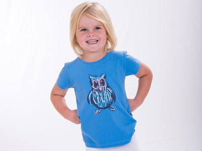 Girl wearing Night Owl T-Shirt- Unisex by Cooee Kids at Nurture Collective