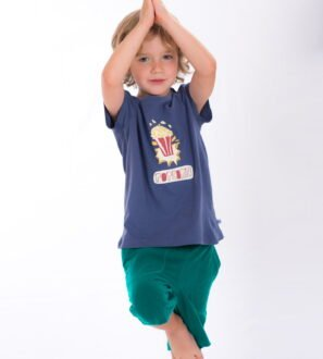Boy wearing Pax Popcorn T-Shirt - Unisex by Cooee Kids at Nurture Collective