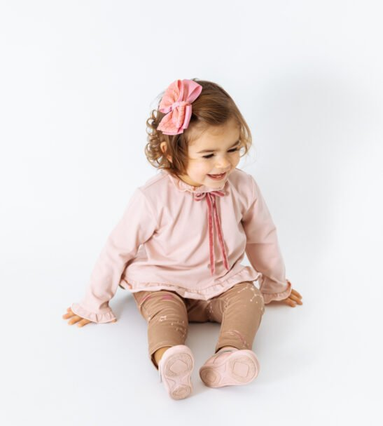 Little girl wearing Shirt Aria in Pink by Per Jo at Nurture Collective
