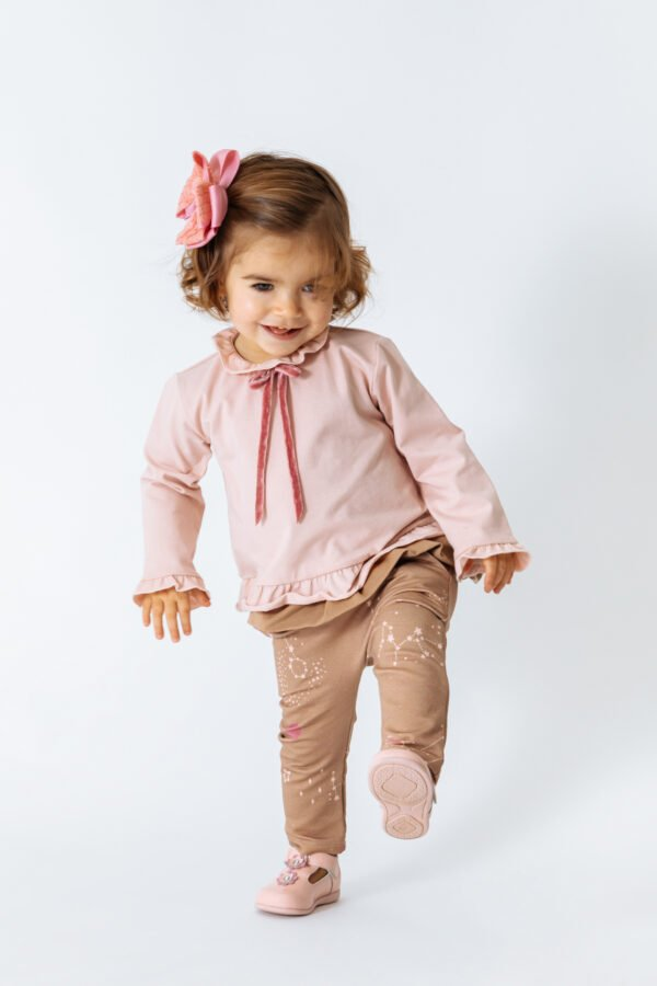 Little girl wearing Shirt Aria in Pink and Pants by Peter Jo at Nurture Collective