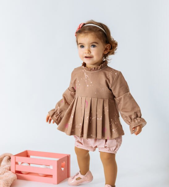 Baby girl wear Cardigan Vela Brown and pink shorts by Peter Jo at Nurture