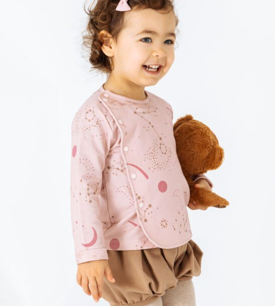 Girl wearing Jacket Phoenix in Pink and Brown Shorts Gemini by Peter Jo at Nurture Collective