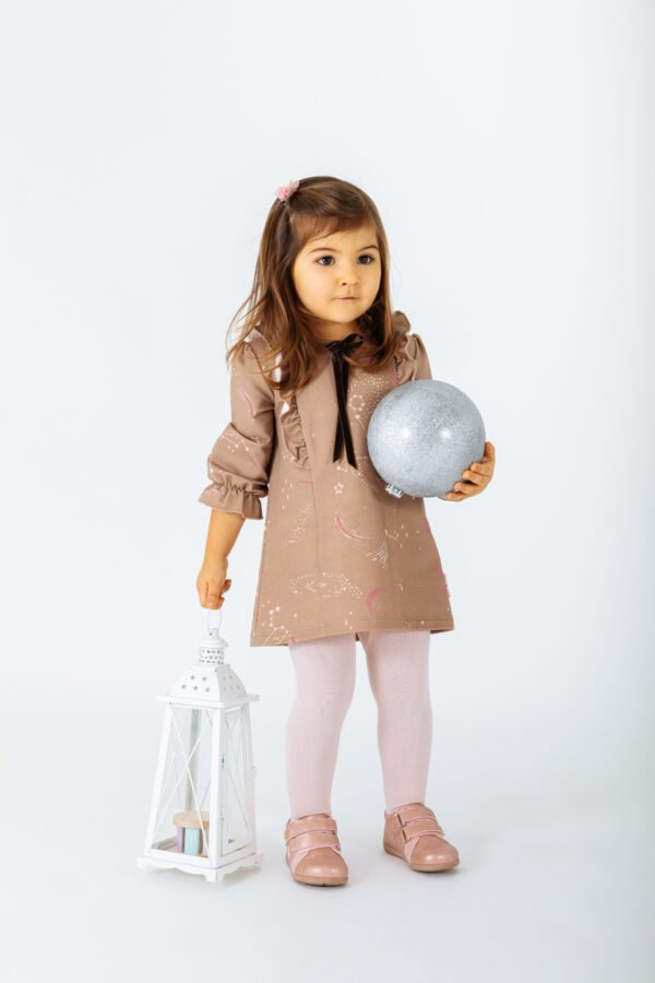 Little girl wearing Dress Vulpecula in Brown by Peter Jo at Nurture