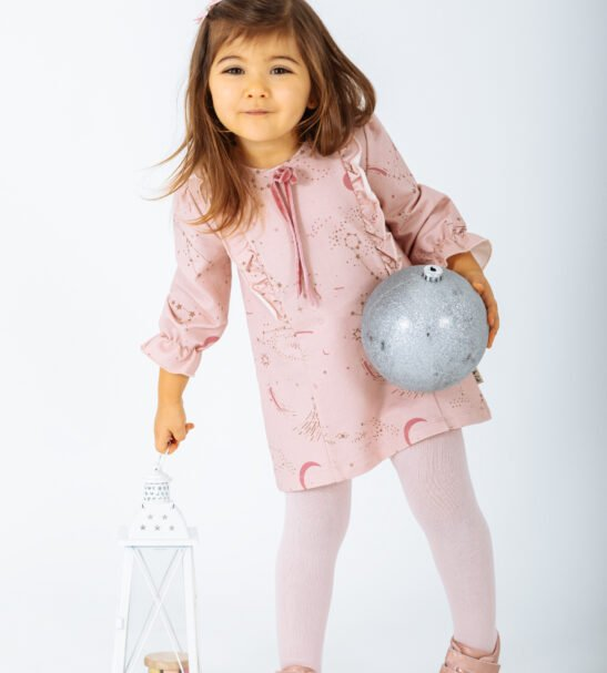Little girl wearing Dress Vulpecula in Pink by Peter Jo at Nurture