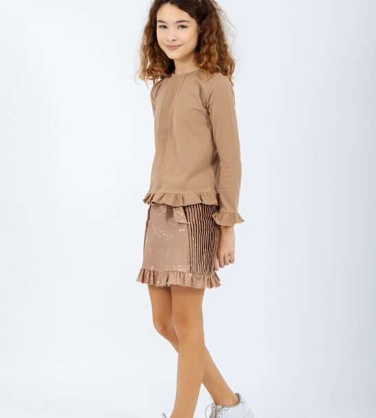 Girl wearing Shirt Columba in Brown and Norma Skirt in Brown by Peter Jo at Nurture Collective