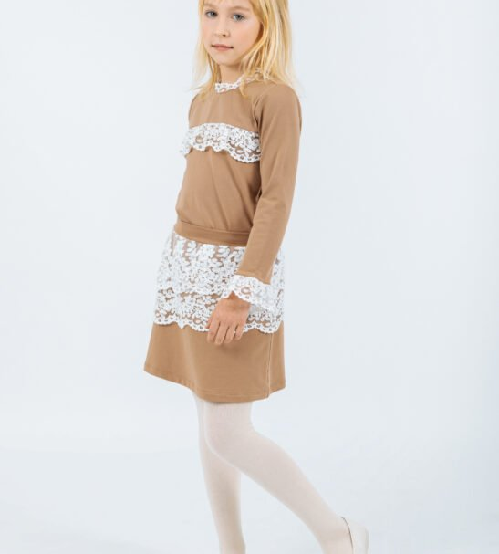 Girl Wearing the Pisces Skirt in Brown and Shirt Hydra in Brown by Peter Jo at Nurture Collective