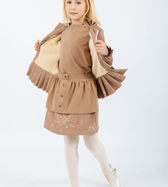 Skirt Aquila in Brown and Ursa Major Jacket in Brown by Peter Jo at Nurture Collective