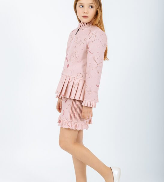 Girl wearing the Norma Skirt in Pink and Ursa Major Jacket in Pink by Peter Jo at Nurture Collective