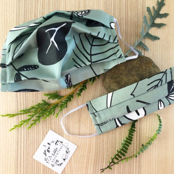 Face Masks in Foliage print for kids and adults by Little Drop at Nurture Collective