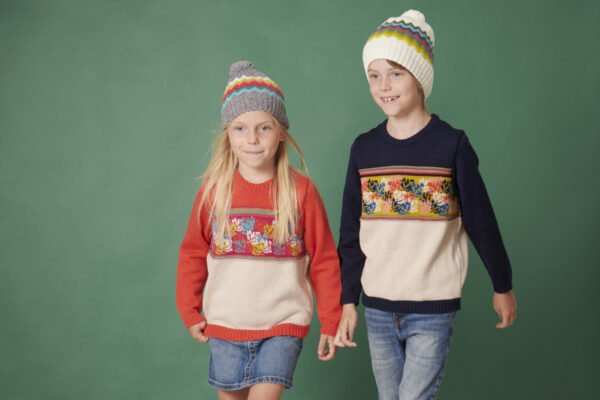 The Adventure Jumper in Blue and Pomegranate and Wolly hats by The Faraway Gang at Nurture Collective