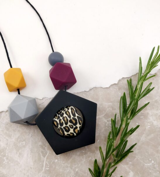 Baby Friendly Silicone Necklace - Leopard & Mustard New Mum Gift Geometric Necklace by Kodes at Nurture Collective