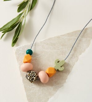 Baby Friendly Silicone Necklace - Leopard, Cactus Green | New Mum Gift | Geometric Necklace by kodes at Nurture Collective