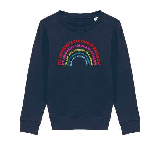 Girl Dancing in The Rainbow Sweatshirt in Navy by The Faraway Gang at Nurture Collective