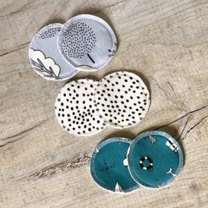 Forest Heather, Dotty, and Harbour print reusable breast pads by Little Drop at Nurture Collective