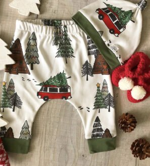 Christmas Camper pants and matching hat by Little Drop at Nurture Collective
