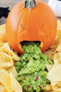 Puking Pumpkin, a novelty Guacamole dip for Halloween healthy dip at Nurture Collective